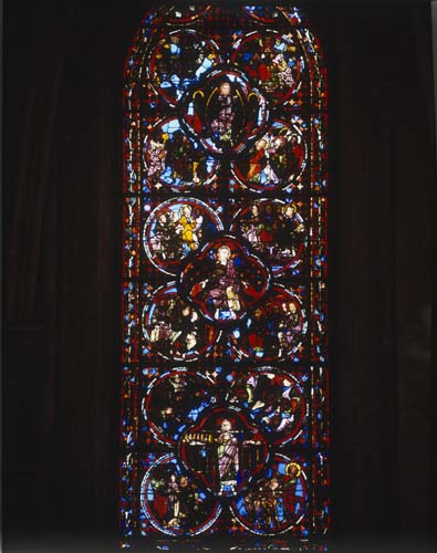 Apocalypse window, 13th century stained glass, Bourges Cathedral, France