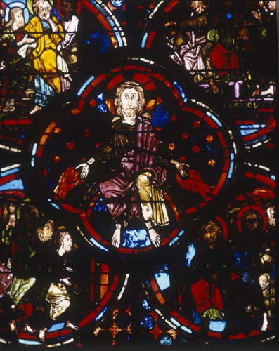 Christ seated in judgement, 13th century stained glass, Last Judgement window, Bourges Cathedral, France
