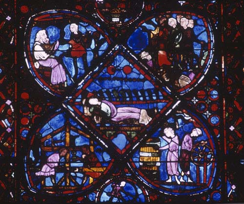 Joseph dreaming and donors: carpenters, coopers and wheelwrights, Joseph window, 13th century stained glass, Bourges Cathedral, France