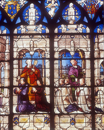 St Peter presenting donors, detail of the sixteenth century Tulliers window, Bourges Cathedral, France