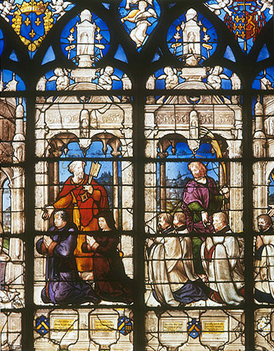France, Bourges Cathedral, detail of the Donors and St Peter, Tullier window by Jean Liquier, 16th century
