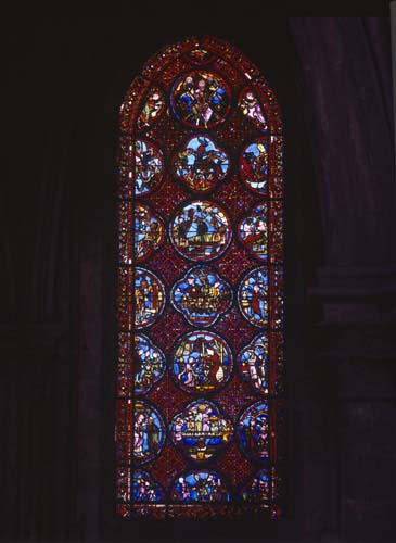 Rich Mans window, 13th century stained glass, ambulatory, Bourges Cathedral, France