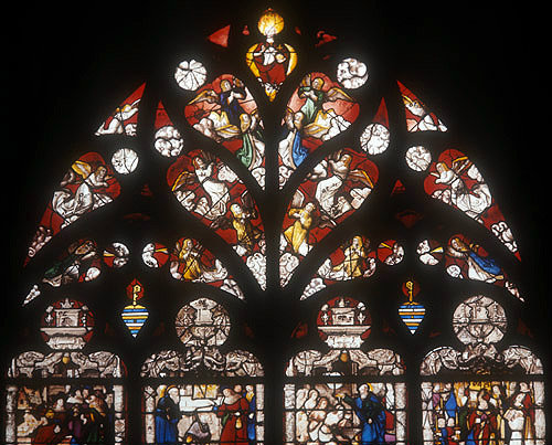 Detail of tracery in the sixteenth century St Dionysus window in the chapel of St Joan of Arc, Bourges Cathedral, France