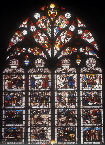 Life of St Dionysus, sixteenth century window, Bourges Cathedral, France