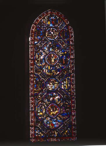 Prodigal Son window, 13th century stained glass, Bourges Cathedral, France
