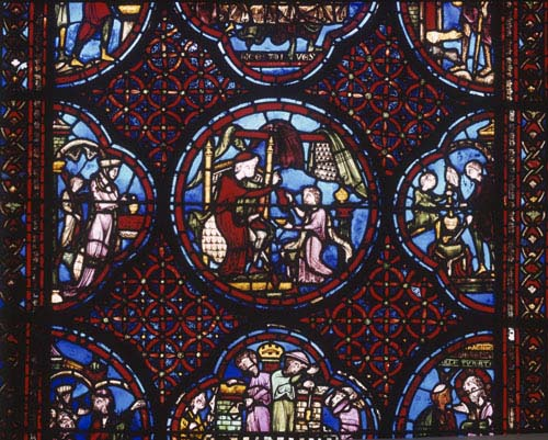 Rich Man or Dives and Lazarus, 13th century stained glass, Bourges Cathedral, France