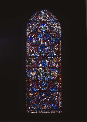 Last Judgement window, 13th century stained glass, Bourges Cathedral, France