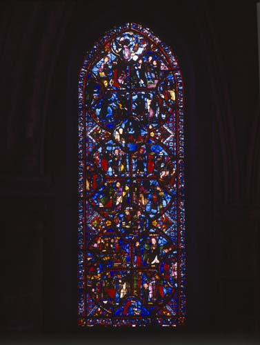 St Thomas window, 13th century stained glass, ambulatory, Bourges Cathedral, France