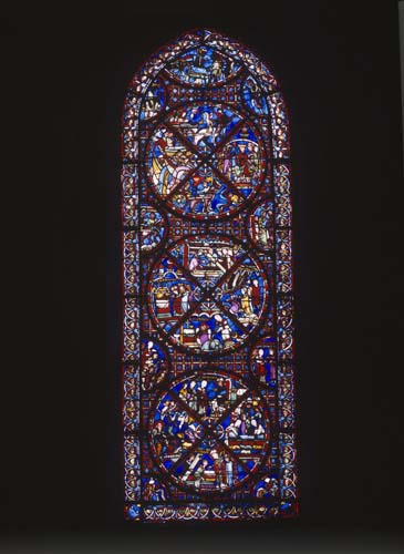 St Stephen window, 13th century stained glass, Chapel of Our Lady of Lourdes, Bourges Cathedral, France