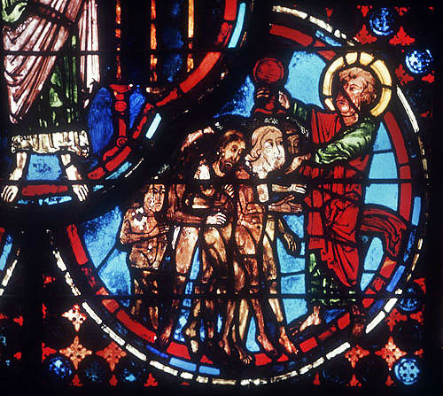 Detail from the Apocalypse window, thirteenth century, Bourges, France