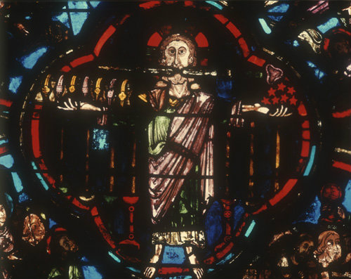 The Son of Man detail from Apocalypse window, thirteenth century, Bourges, France