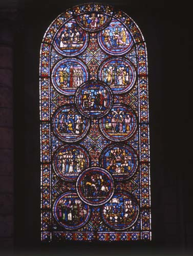St Thomas of Canterbury, stained glass window 1220-25, Sens Cathedral, France