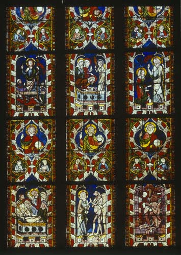 Resurrection window, nine panels from 14th century stained glass, St Lawrence Chapel, Strasbourg Cathedral, France