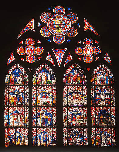 Life of Christ window, fourteenth century, east side, south aisle, Strasbourg Cathedral, France