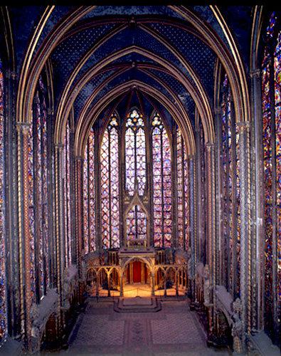 La Sainte Chapelle, looking east, thirteenth century, commissioned by Louis IX, Paris, France