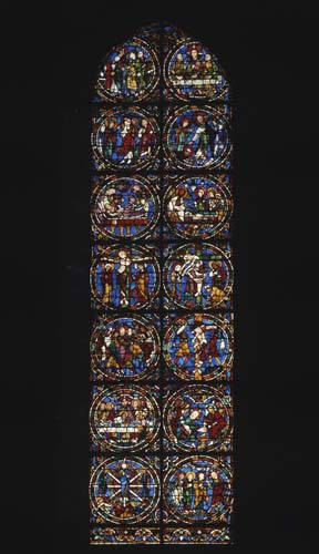 Scenes from the Passion window, 12th century stained glass, west end, Chartres Cathedral, France