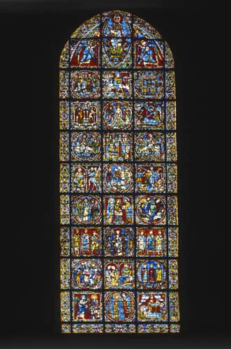 Centre lancet of the west window, Life of Christ, 12th century stained glass, Chartres Cathedral, France