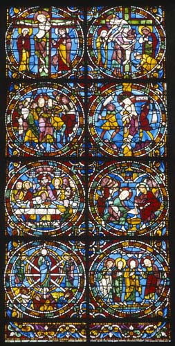 Passion window, detail of the bottom 8 roundels, 12th century stained glass, Chartres Cathedral, France