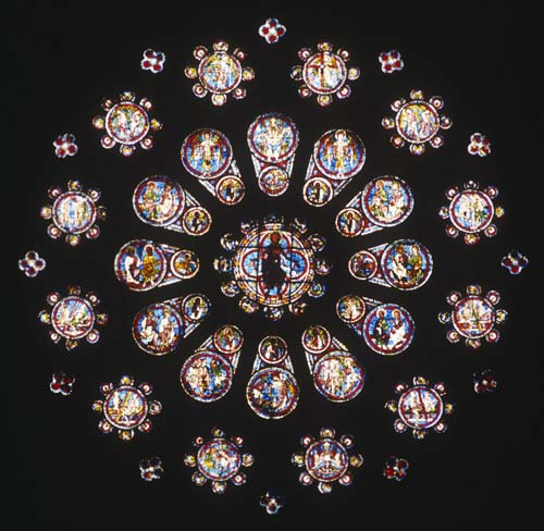 West rose window, stained glass 1215, Chartres Cathedral, France