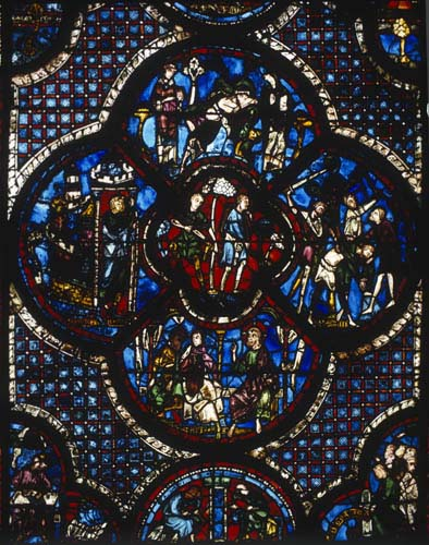 Good Samaritan Window, with shoemaker donors, 13th century stained glass, south aisle, Chartres Cathedral, France