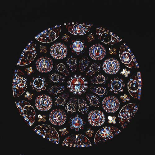 South rose window, 13th century stained glass, Chartres Cathedral, France