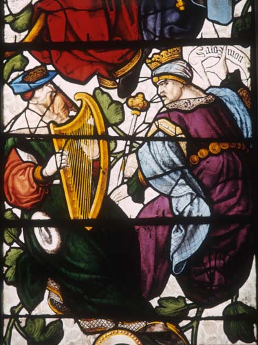 David and Solomon, detail from the Jesse tree, 16th century stained glass, Autun Cathedral, France