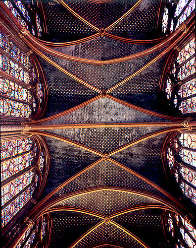 La Sainte Chapelle, ceiling and central windows, thirteenth century, commissioned by Louis IX, Paris, France