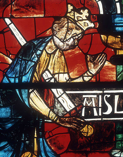King Saul, detail from lancet below north Rose, thirteenth century, Chartres Cathedral, Chartres, France