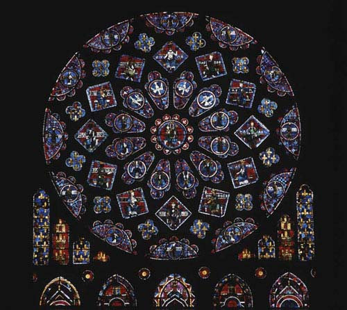 North rose, 13th century stained glass, Chartres Cathedral, France
