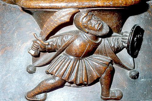 Misericord of fighting man, fifteenth century, Church of La Trinite, Vendome, France