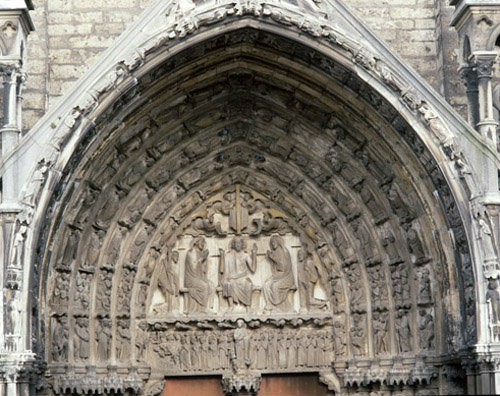 Chartres Cathedral, South Porch, top half of central bay, Last Judgement