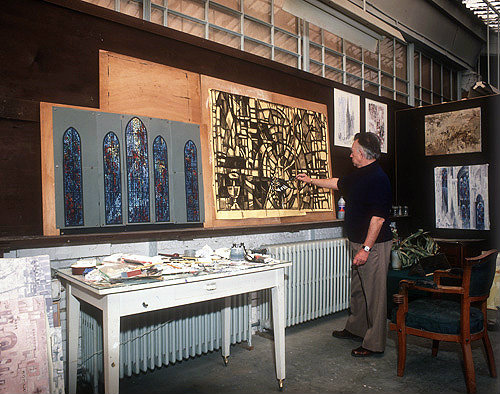 Salisbury Cathedral, Prisoners of Conscience window, Gabriel Loire shading in cartoon for window, in his studio in Chartres, France