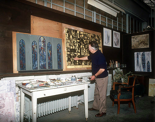 Salisbury Cathedral, Prisoners of Conscience window, Gabriel Loire working on the cartoon for the window in his studio, Chartres, France