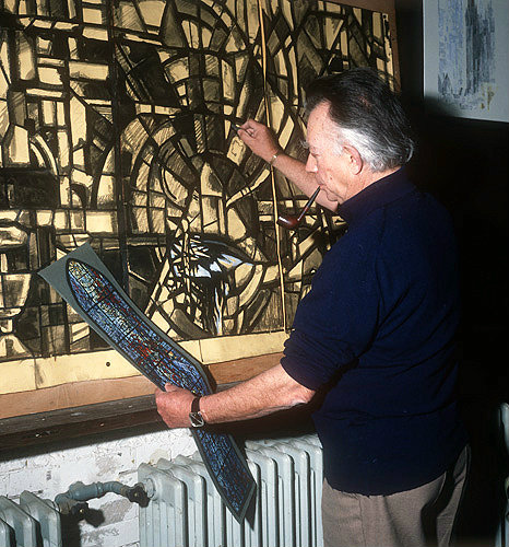 Salisbury Cathedral, Prisoners of Conscience window, artist Gabriel Loire shading in the cartoon, in his studio, Chartres, France