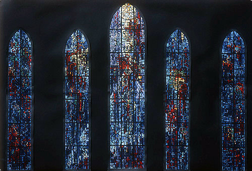 Salisbury Cathedral, Prisoners of Conscience window, sketch for window, by Gabriel Loire, in his studio, Chartres, France