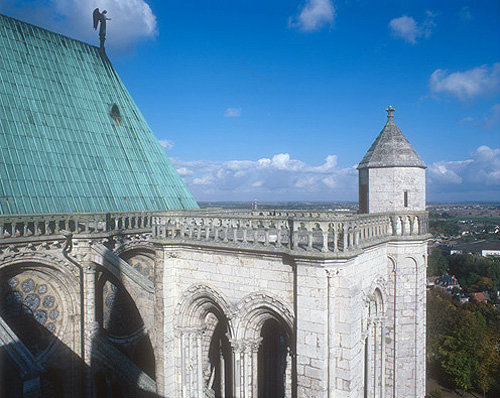 South east tower and apse roof with angel, Chartres Cathedral, France