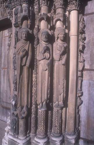 Three old testament figures, twelfth century, left jamb, right bay, Royal Portal, Chartres Cathedral, France
