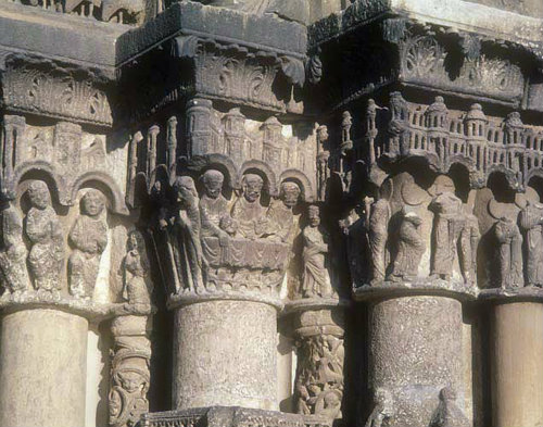 Supper at Emmaus, twelfth century, right frieze, right bay, Royal Portal, Chartres Cathedral, France