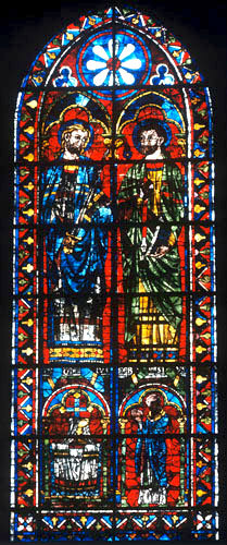 St Gervais and St Protais with donor priest, Chartres Cathedral, France