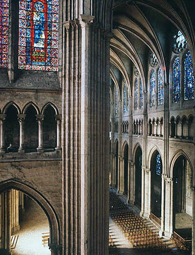 Nave and triforium of south transept, thirteenth century, Chartres Cathedral, France