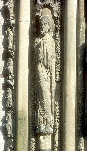 Moses, twelfth century, right jamb, left bay, Royal Portal, Chartres Cathedral, France