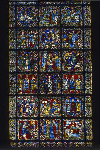 Incarnation window, central lancet, Christmas story, 12th century stained glass, west end, Chartes Cathedral, France