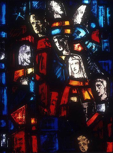 Salisbury Cathedral, Trinity Chapel, Prisoners of Conscience window by Gabriel Loire, lancet A, detail of faces, in Gabriel Loire