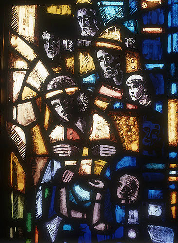 Salisbury Cathedral, Trinity Chapel, Prisoners of Conscience window by Gabriel Loire, lancet A, panel 8, Pilate washing his hands, in Gabriel Loire