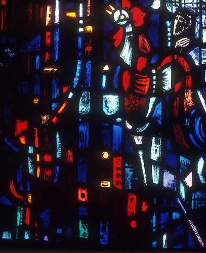 Salisbury Cathedral, Trinity Chapel, Prisoners of Conscience window by Gabriel Loire, lancet B, detail of panel 9, Peter