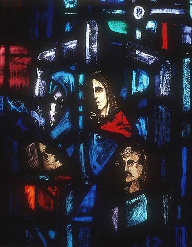 Salisbury Cathedral, Trinity Chapel, Prisoners of Conscience window by Gabriel Loire, lancet E detail of panel 10, four heads, in Gabriel Loire