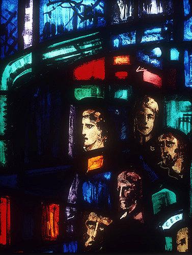 Salisbury Cathedral, Trinity Chapel, Prisoners of Conscience window by Gabriel Loire, lancet E, detail of five heads, in Gabriel Loire