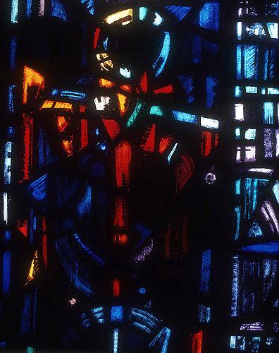 Salisbury Cathedral, Trinity Chapel, Prisoners of Conscience window by Gabriel Loire, lancet E, detail of anchor, symbol of hope, Gabriel Loire