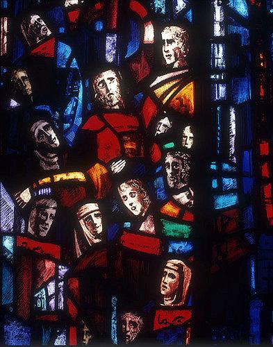 Salisbury Cathedral, Trinity Chapel, Prisoners of Conscience window by Gabriel Loire, lancet D, panel 9, thirteen heads, in Gabriel Loire