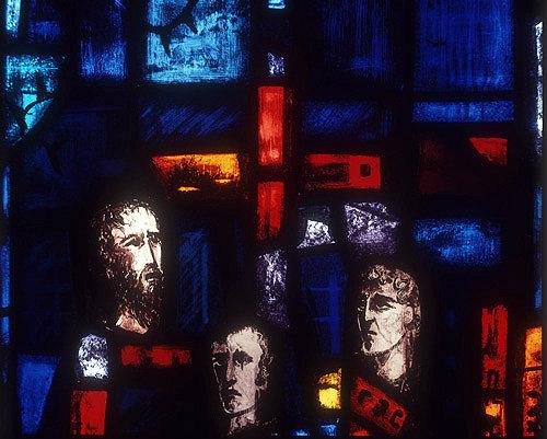Salisbury Cathedral, Trinity Chapel, Prisoners of Conscience window by Gabriel Loire, lancet A, panel 11, three heads, in Gabriel Loire